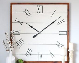 Vintage Wall Clock. Square White Clock. 40 In Clock. White Rustic Clock.  Living Room Wall Decor. Repurposed Barn Wood.