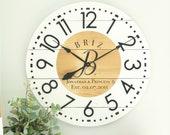 Large wall clock - Farmhouse wall decor - Oversized wall clock - Personalized gift - Custom family gift - Monogram -