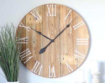 Handmade wooden wall clock. Large wall clock. Rustic wall clock. Oversized wall clock. Natural wood clock. Wall clock
