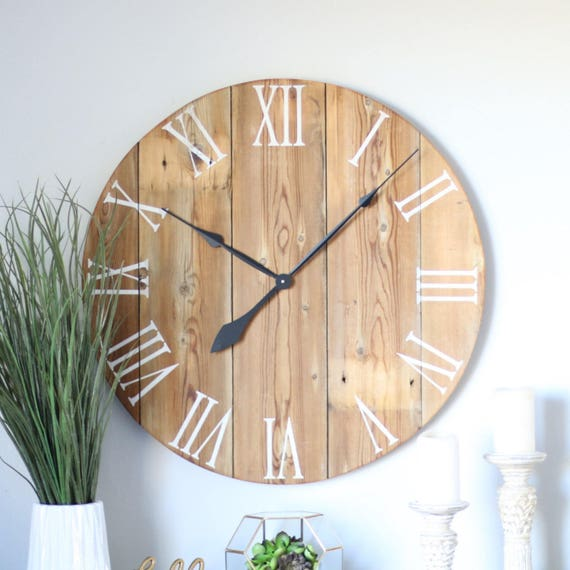 Handmade Wooden Wall Clock Large Wall Clock Rustic Wall