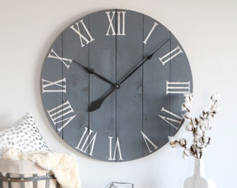 "Large wall clock - Slate grey - Unique gift idea - Above fireplace decor - Farmhouse decor - Handmade item - Clocks for wall - 25""/30"" NORA"