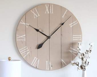 Large wall clock. Living room decor. Farmhouse decor. Rustic decor. Wall hanging. Wall decor. Barn wood clock.