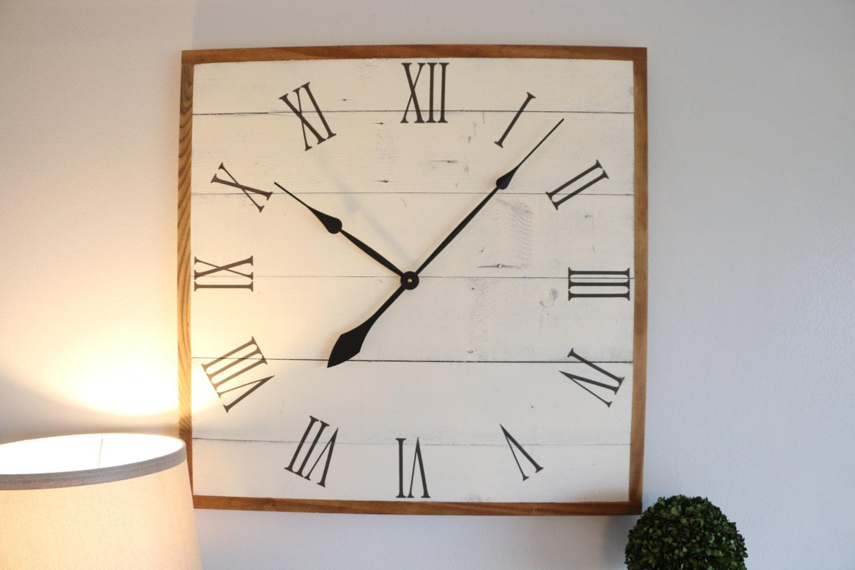 Clock Clocks Large Clock Square Wall Clock Rustic
