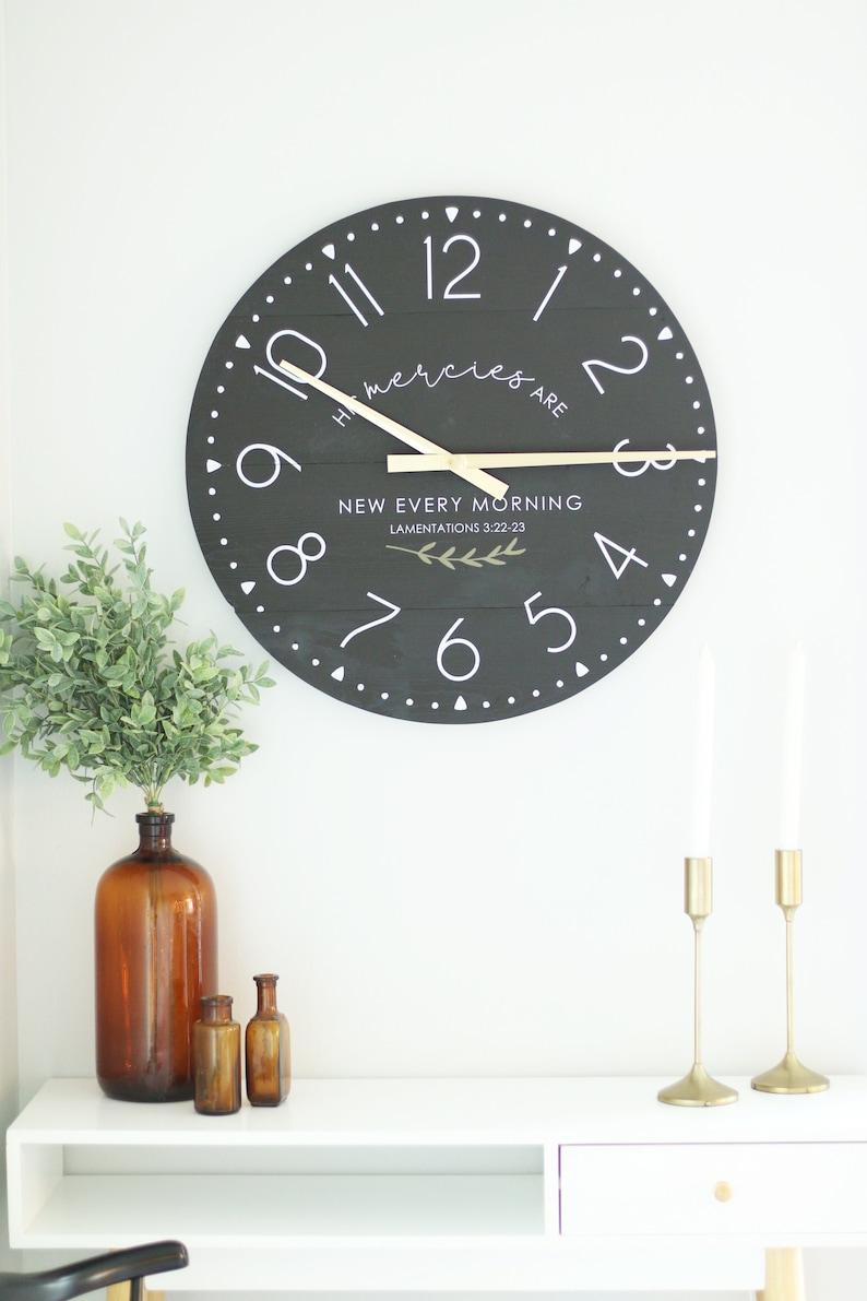 Unique gift idea 2530 Mercies in black Farmhouse living Large wall clock Modern home decoration Scripture wall art Encourage