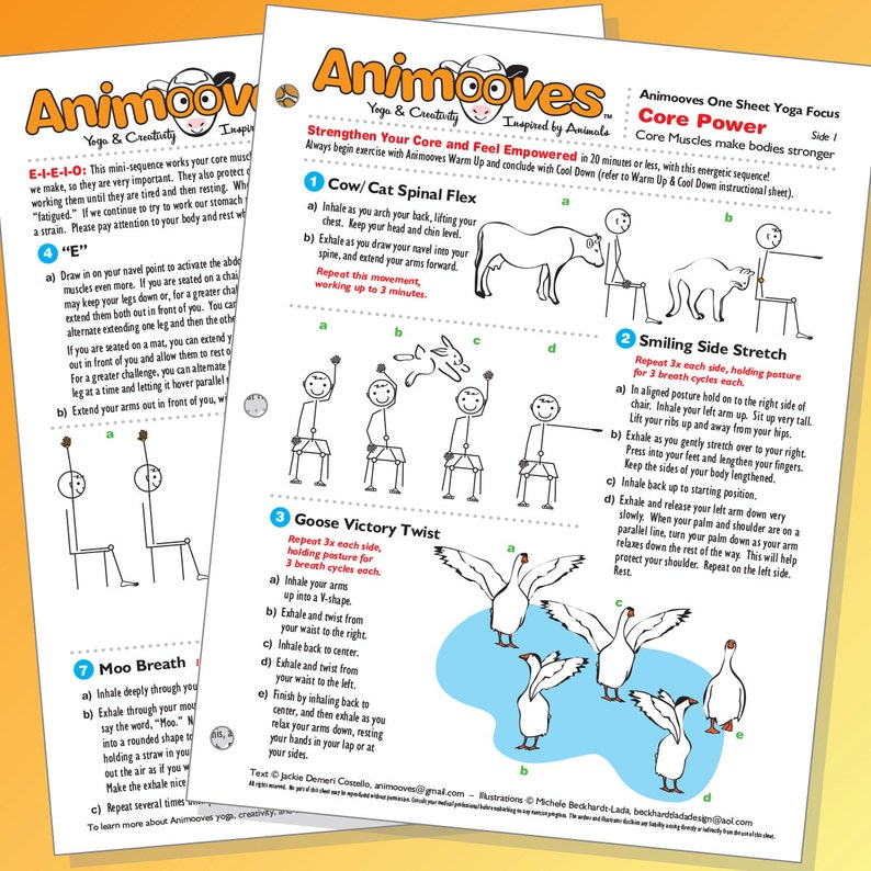 CORE POWER - One Sheet Yoga Focus, ANIMOOVES, Strenghthen Core,  Instructional, Health and Wellness, Beckhardt-Lada Design, Family, Groups