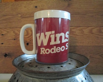 Vintage Plastic Coffee Mug  Thermo Serv Winston Rodeo Series Campfire, Trailers, Picnics, Cowboy Mug Swag Item Pencil Holder Desk Decor