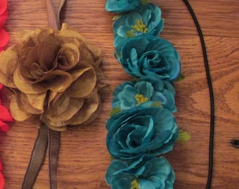 NEW Aqua or Yellow or Brown Ribbon Head Bands, Bookmark, Book Club Lovers, Teacher Gift, Book Embellishment, Office Desk, Beach,Summer Time