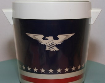 Vintage Estate Sale  Rare 70s West Bend Thermo-Serv Red Blue Strip with White Stars with  American Eagle Ice Bucket, Bar/Election Party/ USA