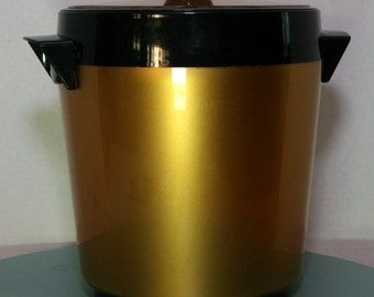Vintage 70s West Bend Thermo-Serv Gold and Black Ice Bucket BarWare Mad Men Look/Party/Storage