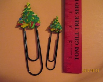 Retro Set of Two Christmas Trees Holiday  Paperclips, Bookmarks, Teacher Gift,  Bookmarker,  Book Embellishment, Office Desk. Journals