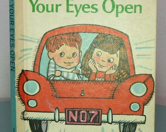 "Vintage ""Keep Your Eyes Open"" Wonder Books Easy Reader 1965  Summer Vacation  Made in USA  Stocking Stuffer. Junk Journals"