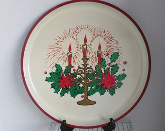 """Vintage """"Christmas Candle""""  Tray Retro Kitsch Boho  Melmac Serving Tray Holiday Tray Christmas Party Vintage Christmas"""