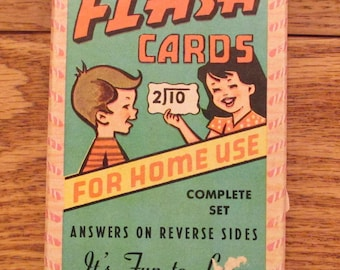 "Vintage Division  Flash Cards by  ""A=Built-Rite-Toy"" Vintage Ephemera. Scrapbook Supplies, Home Lesson, Junk Journal.Made in USA Flash Cards"