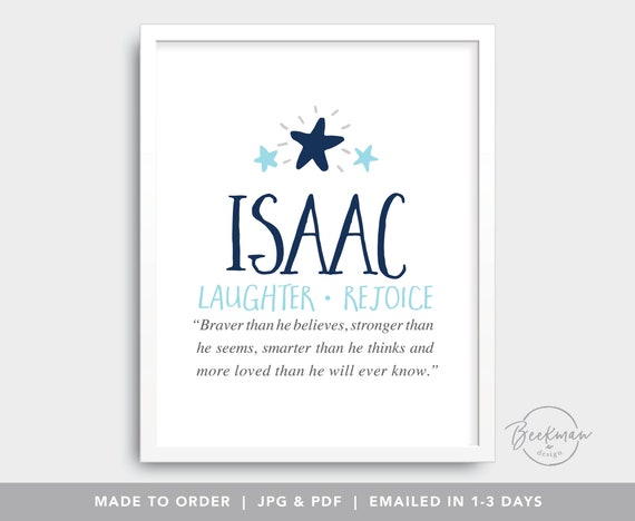 Isaac Digital Files Baby Name Meaning Personalized Baby Etsy