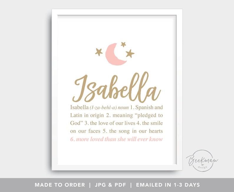 Isabella Digital Files Bella Personalized Baby Name Art Etsy