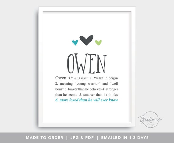 Owen Personalized baby gift Baby name wall art Custom | Etsy