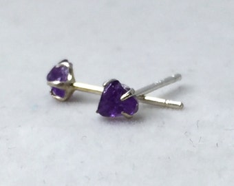 Tiny Amethyst  Studs Earrings, Rough, Raw Stone, Sterling Silver, 925
