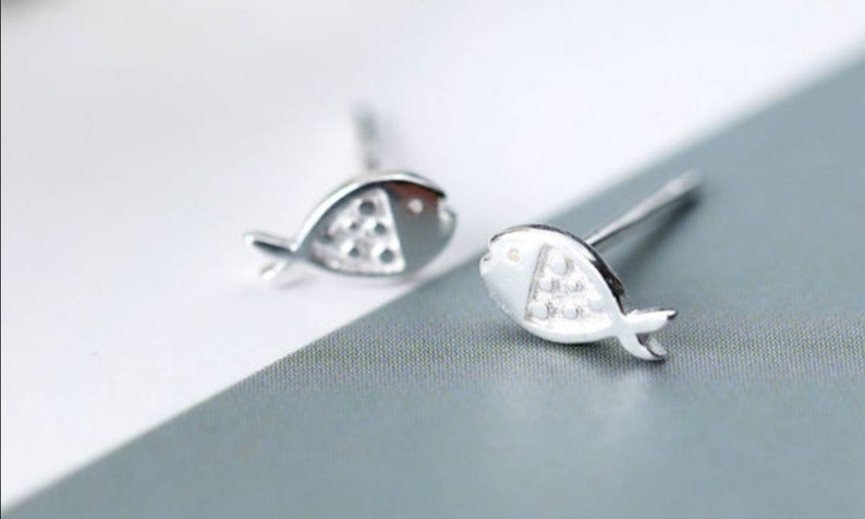 Birthday Gift Wedding Gift Gift for her Tiny Fish Sterling Silver Stud Earrings