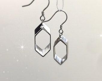 Geometric Earrings, Simply Modern, Sterling Silver, Drop Earrings, Dangle Earrings, Dairly Earrings