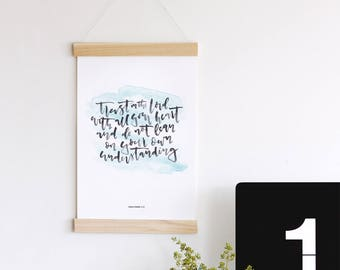 Trust in the Lord | Proverbs 3:5 | Bible Verse Print | Scripture Wall Art | Bible Verse Art with Wood Frame Hanger