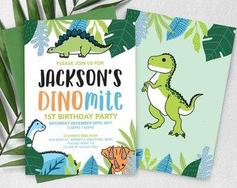 Tropical Dinomite Dinosaur Birthday Invitation, Dinosaur Invitation, Boys invitation, Dinosaur Birthday Party, T-rex Invitation,Stegosaurus