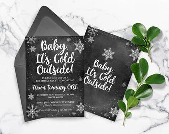 Baby its cold outside Chalkboard, Winter Invitation, Baby its cold, Snowflake invitation, Christmas Invitation, Winter baby shower