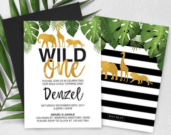 Tropical Safari Wild One First Birthday Invitation, Wild One, Safari invitation, Giraffe Invitation, Wild one Invitation, Elephant Invite