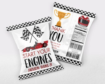 Race Car Chip Bag, Racing Chip Bag, Race Car Chip Bag Sleeve, Chip Bag Favour, Chip Bag, Race Car Bag, Cars Chip Bag