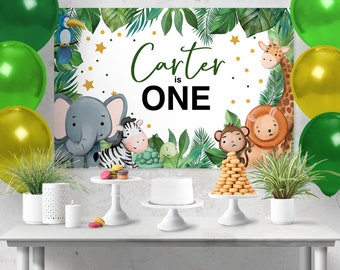 Zoo Animals Birthday Backdrop Design, Zoo Animals Cake Table, Zoo Sign, Wild One, Zoo backdrop, Giraffe backdrop,Wild one,Elephant Sign