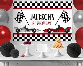 Race Car Backdrop Design, Race Car Sign, Race Car Poster, Racing Birthday Party, Cake Table Backdrop, Racing Birthday