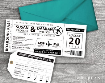 Destination Boarding Pass Invitation  | Printable Invitation | Destination Wedding Invitation | Boarding Pass | Airline Ticket Invitation