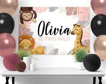Rose Gold Tropical Safari Background Design, Wild One Cake Table, Safari Sign, Wild One, Safari backdrop, Jungle backdrop,Wild one backdrop