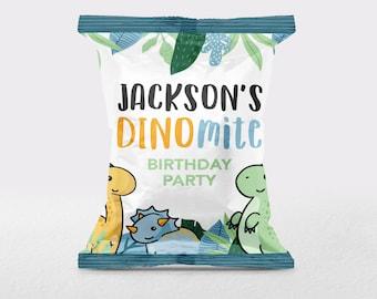 Cartoon Dinosaur Chip Bag, Dino Chip Bag, Dinosaur Car Chip Bag Sleeve, Chip Bag Favour, Chip Bag, Trex Car Bag, Tropical Dinosaur Chip Bag