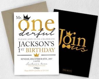 Gold Crown Mr ONEderful Birthday Invitation   Little Man Birthday Invitation   Bowtie invitation   Mr. Onederful Birthday   Royal Birthday