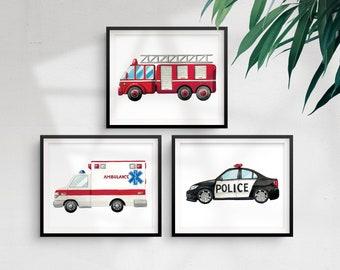 Printed Rescue Vehicle Prints - Art print, Nursery Art, Art watercolour, Decor, Police Car Picture, Fire Truck Picture, Ambulance Picture