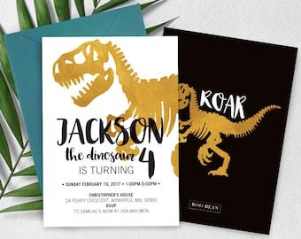 Modern Dinosaur Birthday Invitation, Dinosaur Invitation, Boys invitation, Dinosaur Birthday Party, Dino Invitation, Gold Dinosaur Party