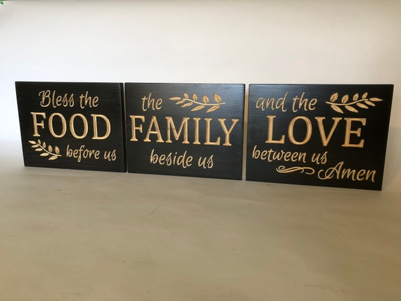 Wood Carved Signs Bless The Food Before Us Wall Collage Etsy Adorable Decorative Kitchen Signs