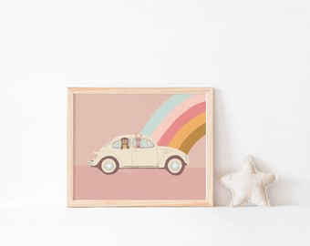 Children's Poster - different sizes selectable - Motif Rainbowcar - by Chilli and Jens