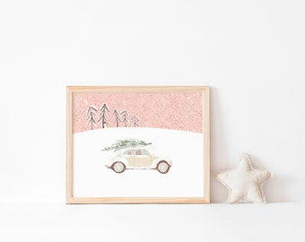 Winter - Car - Children's Poster - different sizes selectable - Motiv Driving home - by Chilli und Jens