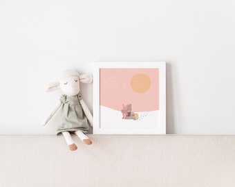 Cute poster motif on light pink paper cardboard - Motif HUG by Chilli and Jens