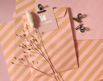 Paper bags A6 made of natural paper diagonal stripes pink-orange, gift wrapping paper, gift bags, flat bags for postcards by Chilli&Jens