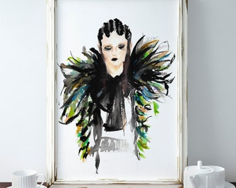 "Watercolor Fashion Illustration - Art Print - ""Marc Jacobs F16"""