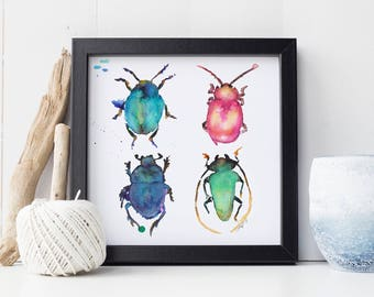 Oh look! Beetles! - watercolor illustration art print