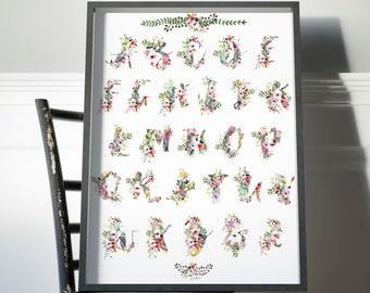 art print- alphabet- nursery alphabet- watercolor floral