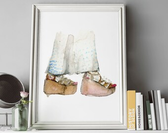 "Watercolor Fashion Illustration - Art Pint- ""Clover Canyon pre-fall16 shoes"""