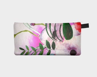 "pencil case- cosmetic bag-clutch- pouch in ""Bea"" floral- watercolor print"
