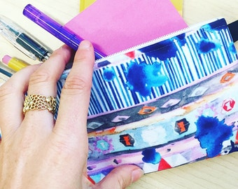 """pencil case- cosmetic bag-clutch- pouch in """"feeling the blues"""" - watercolor -stripe- print"""
