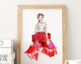 "Watercolor Fashion Illustration - Art Print - ""Stephane Rolland Couture 16"""