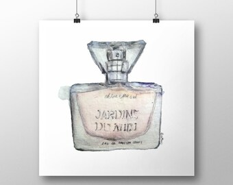 "Watercolor Fashion Illustration - Art Print - ""Jardins Du Midi"""