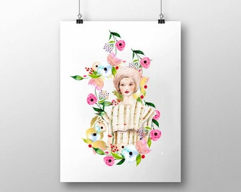"Watercolor Fashion Illustration- ""CG Studio NYC "" -Limited Edition - signed and numbered print 8"" x 10"""